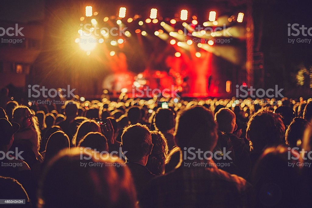 Concert audience listening to music stock photo