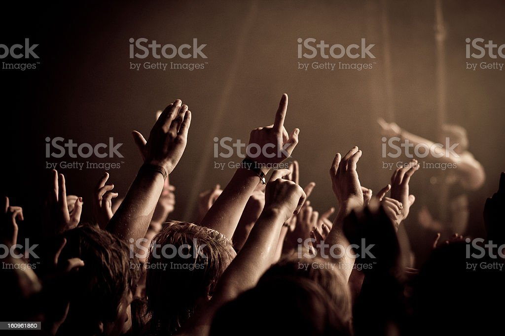 Concert crowd - Hands in the air royalty-free stock photo