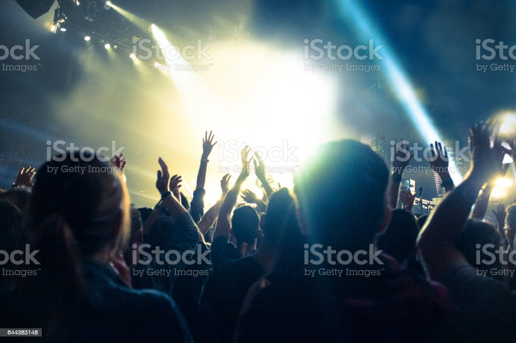 Concert crowd, hands in the air stock photo
