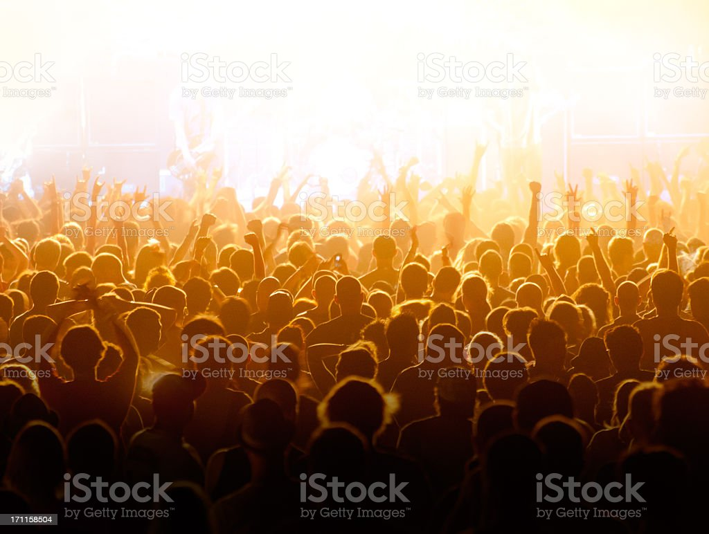 Crowd cheering and watching a band on stage, blinded by stage lights.