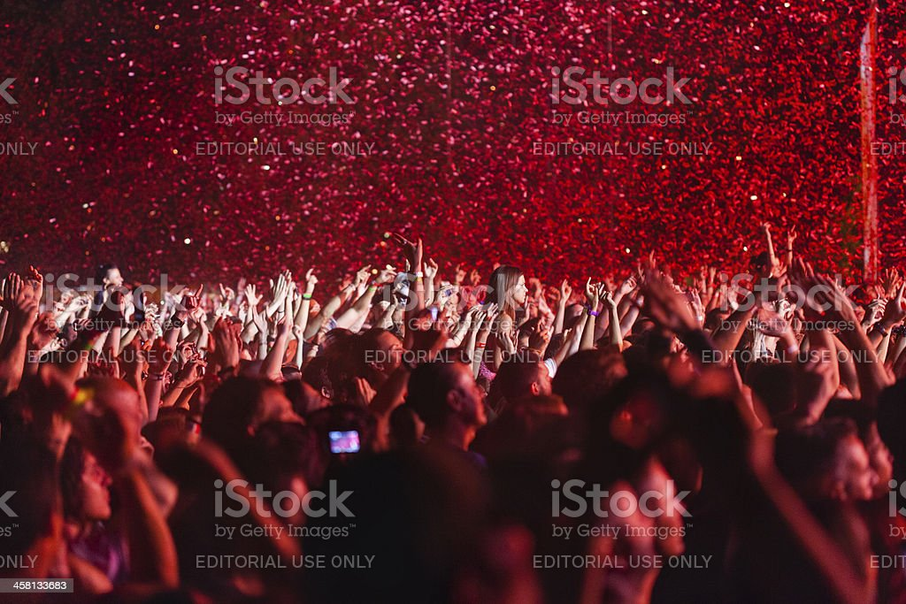 Concert Crowd With Raised Hands royalty-free stock photo