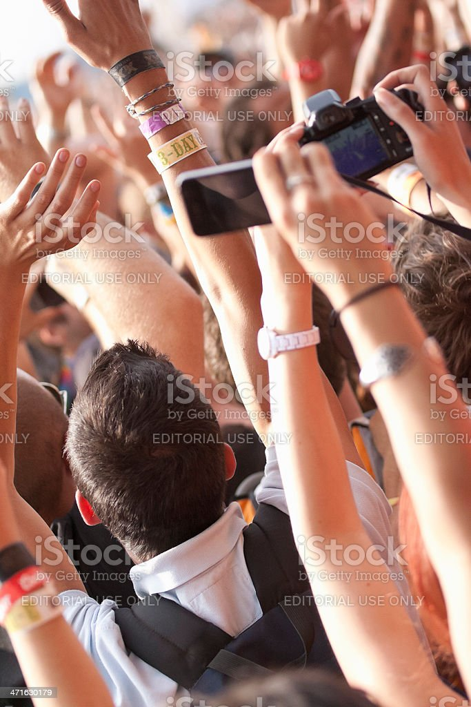 Concert Fans Taking Pictures royalty-free stock photo