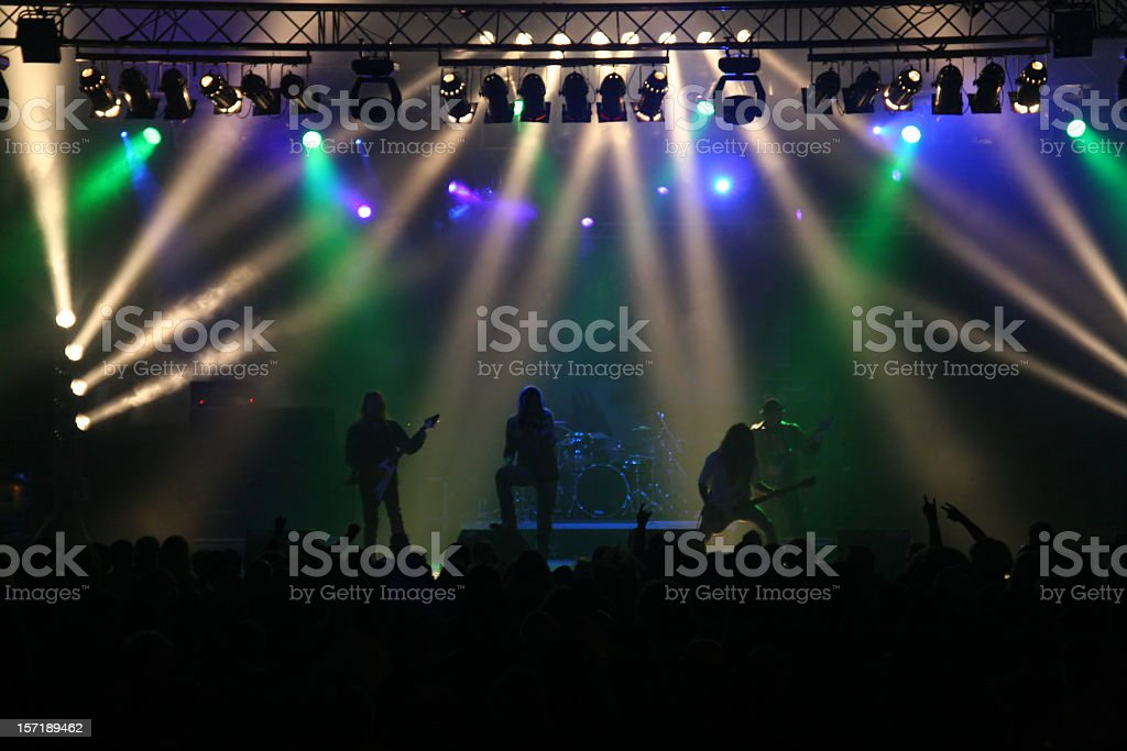 Concert featuring colorful stage lighting stock photo