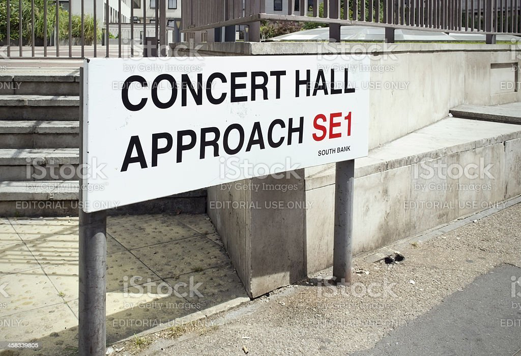 Concert Hall Approach, South Bank, London - sign royalty-free stock photo