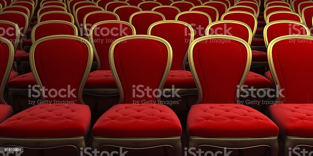 concert hall with red seat 3d rendering royalty-free stock photo