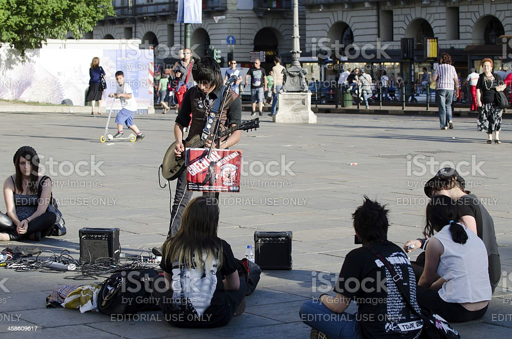 Concert in the square for a few friends royalty-free stock photo