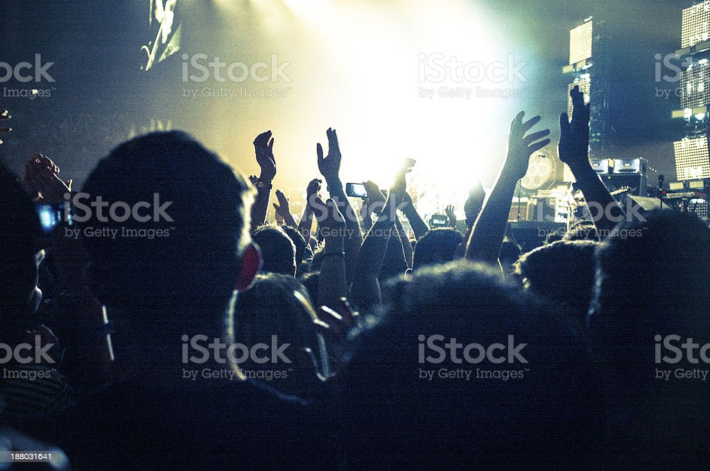 Concert Lighting, arms in the air royalty-free stock photo
