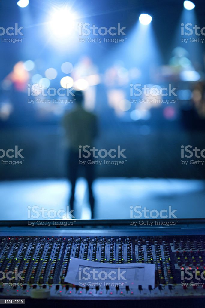 Concert: Music band and lighting equipment royalty-free stock photo