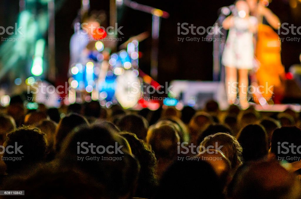 concert people music audience jazz bokeh band head stock photo