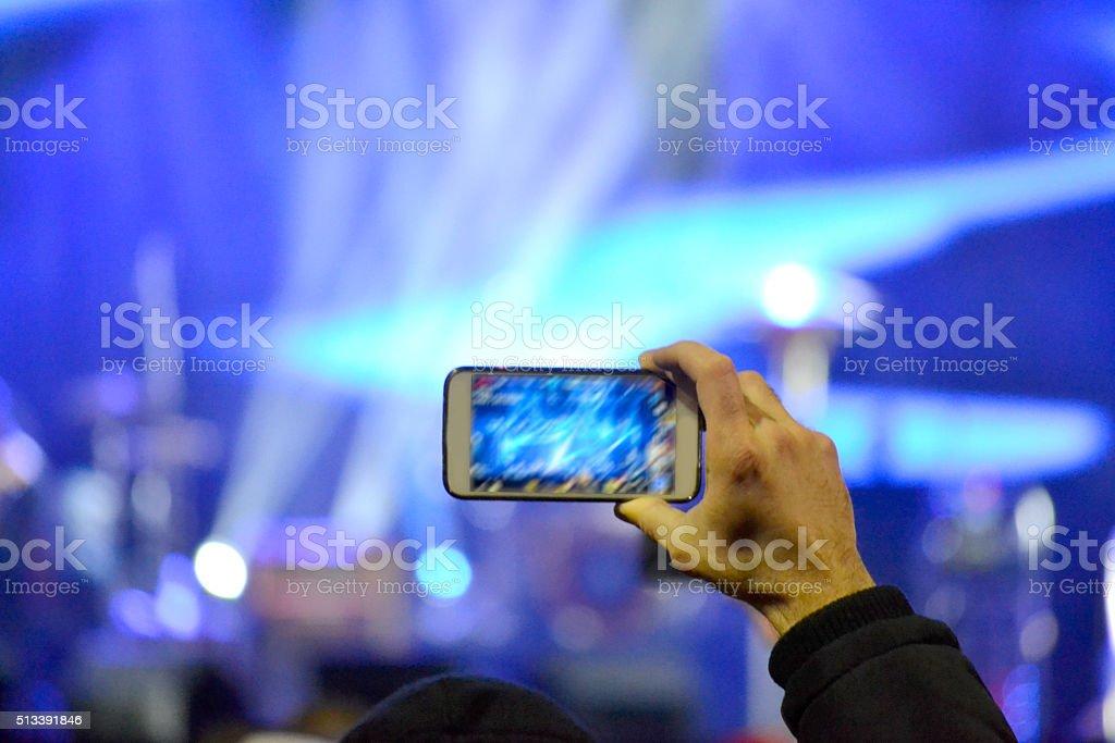 concert photography smart phone stock photo