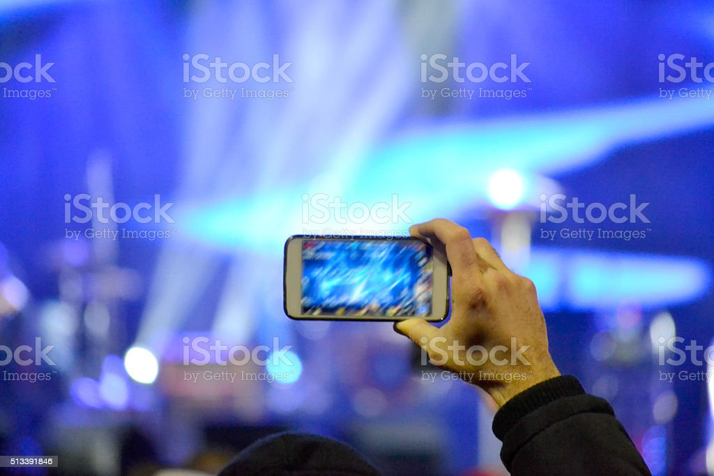 concert photography smart phone stock photo