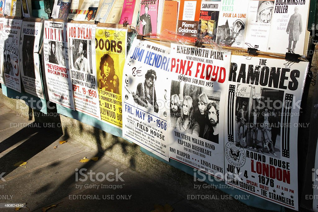 Concert Posters from 60's and 70's stock photo