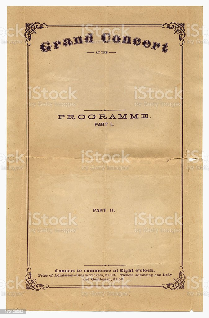 Concert programme from 1870 stock photo
