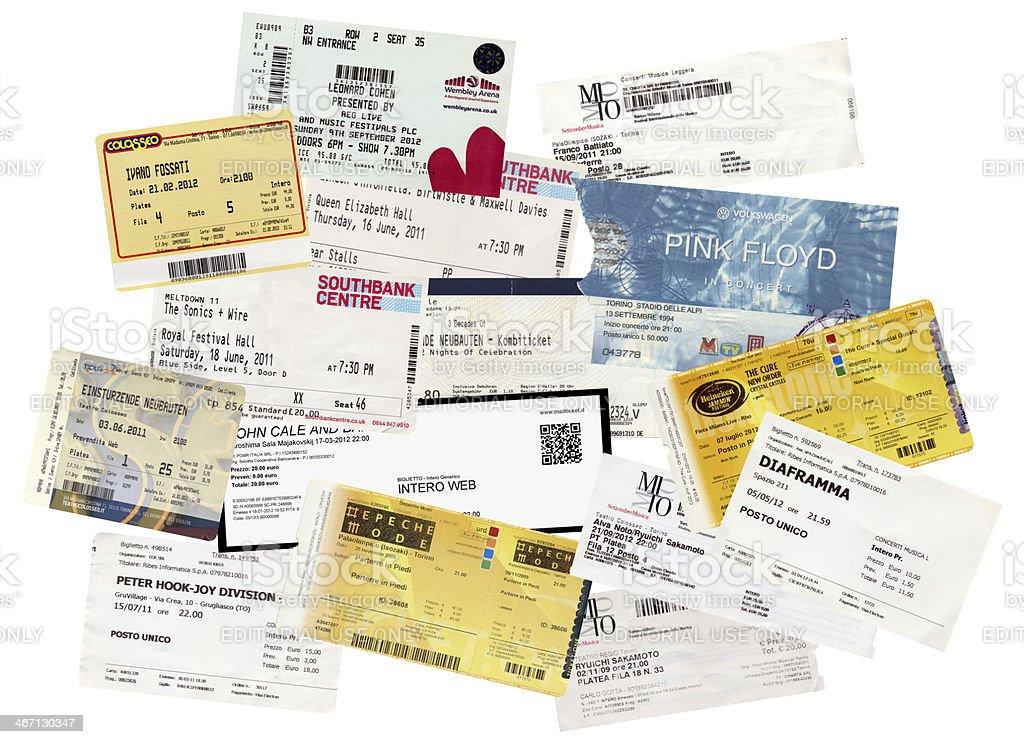 Concert tickets stock photo