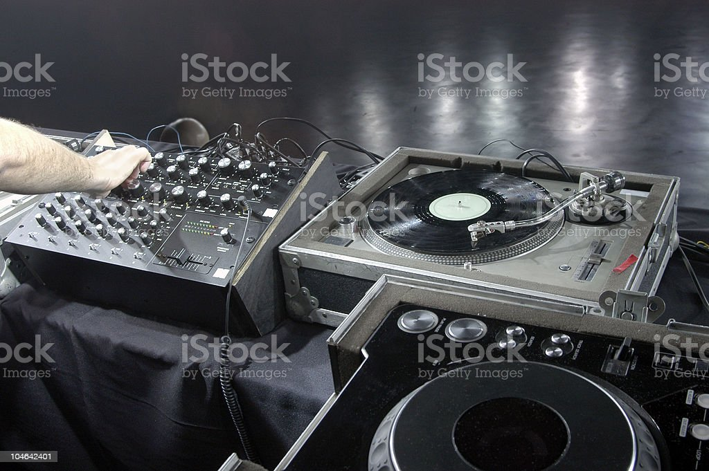 DJ concert venue mixer and turntables soundcheck stock photo