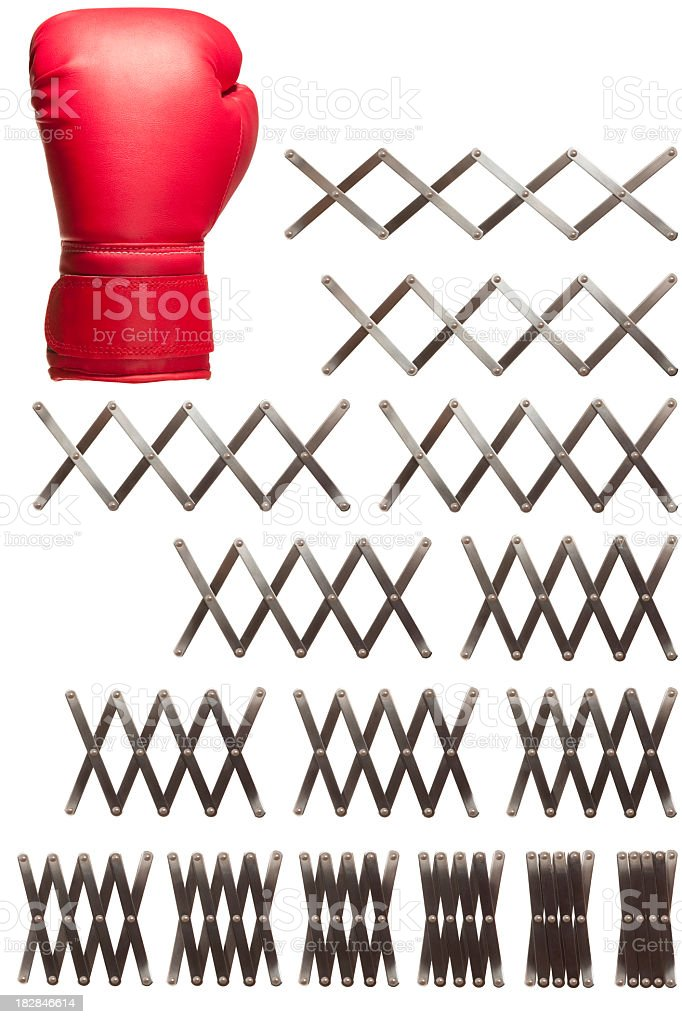 Concertina boxing glove sequence royalty-free stock photo