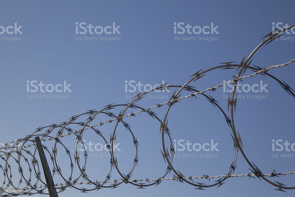 Concertina Wire On Top of Fence, Military, Prison, Barbed, Coils royalty-free stock photo