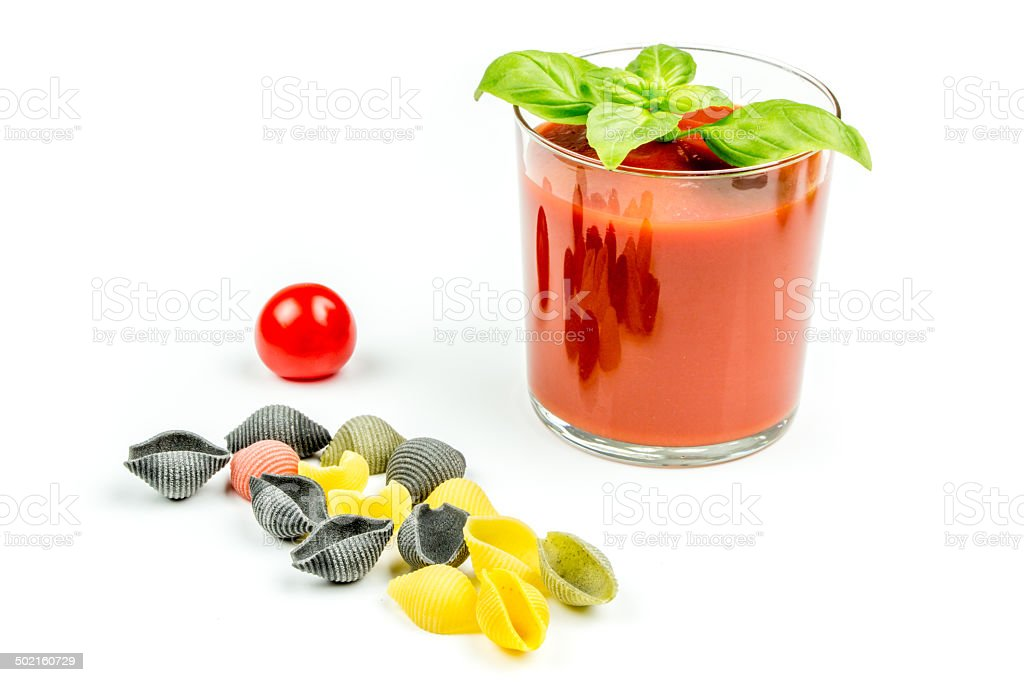 conchiglie pasta and tomatoes with juice royalty-free stock photo