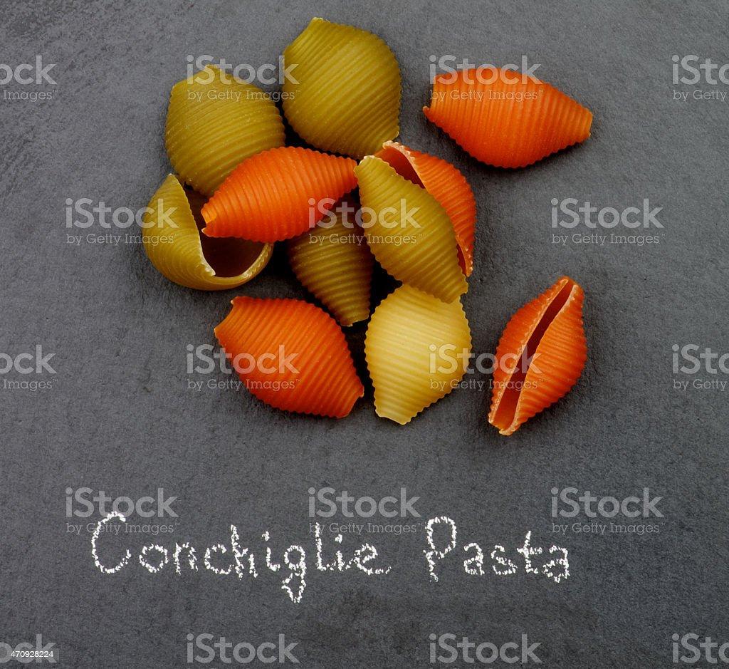 Conchiglie Tricolore Pasta stock photo