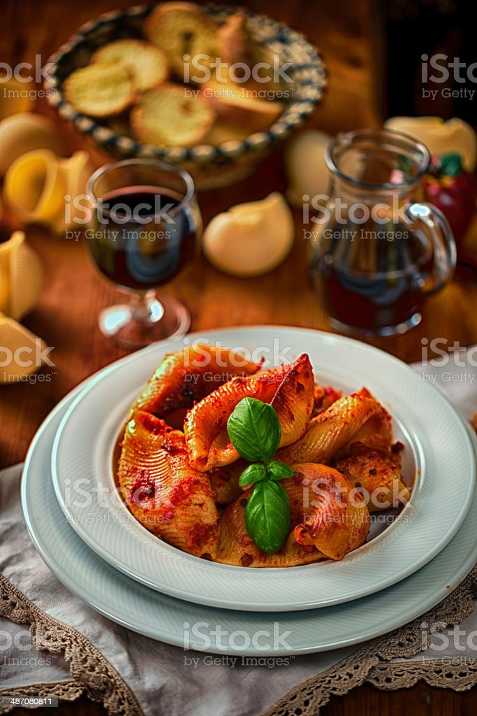 Conchiglioni with sauce royalty-free stock photo