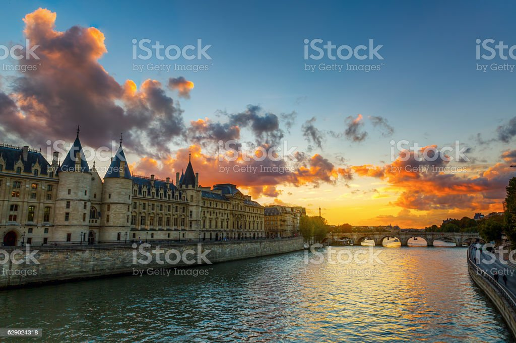 Conciergerie in Paris, France, at sunset stock photo