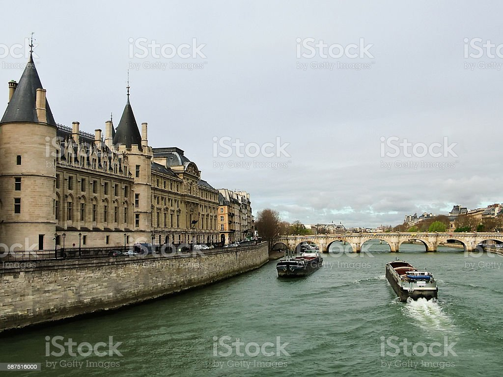 Conciergerie on the banks of the Seine stock photo