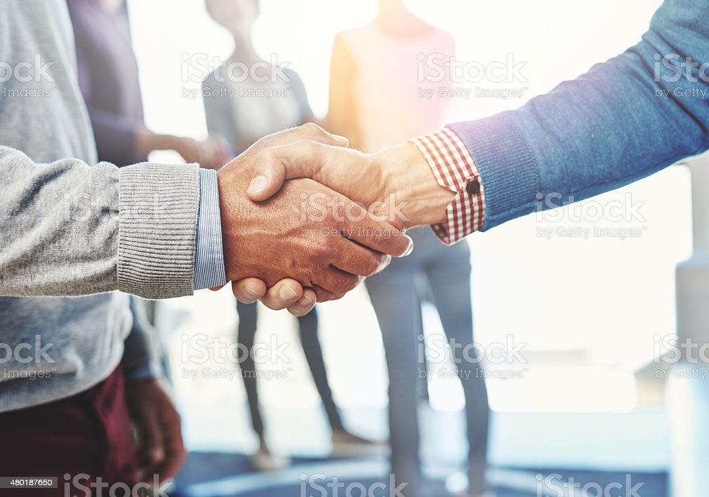Concluding a new business deal stock photo