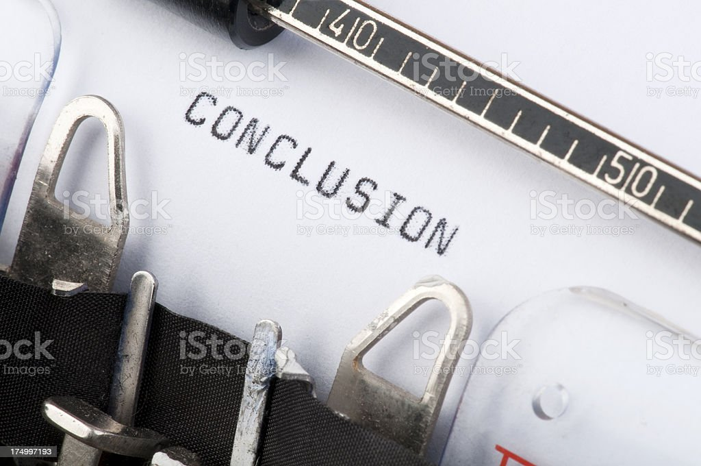 Conclusion typed on old typewriter royalty-free stock photo