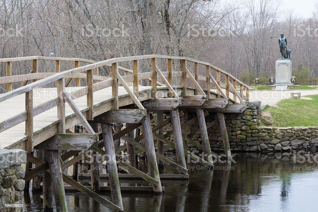 Concord, MA Old North Bridge and Minuteman Statue stock photo