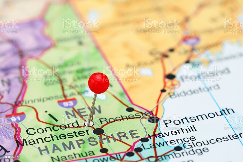 Concord pinned on a map of USA stock photo