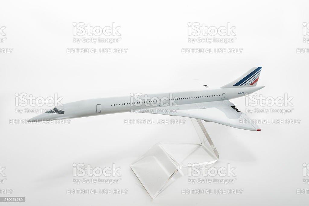 Concorde plane model on white stock photo