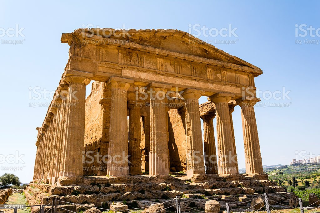 Concordia Temple. Valley of the Temples, Agrigento on Sicily, Italy stock photo