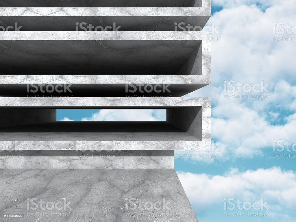 Concrete abstract architecture on cloudy sky background stock photo