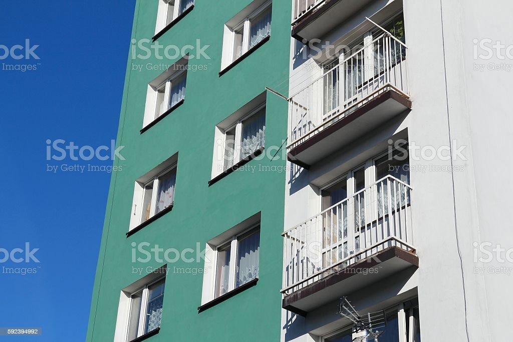 Concrete apartment building stock photo
