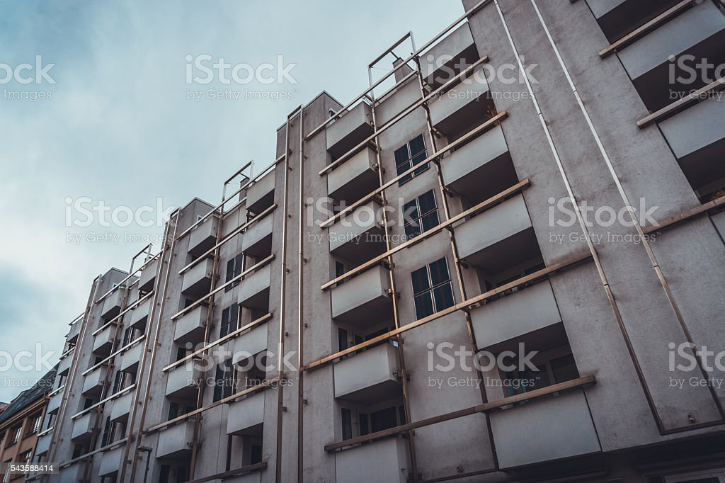 Concrete Apartment Building with Balconies stock photo