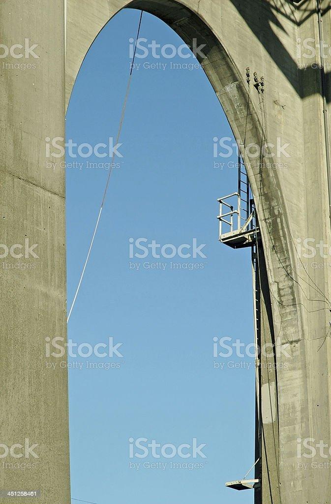 Concrete arch supporting bridge in Seattle WA stock photo