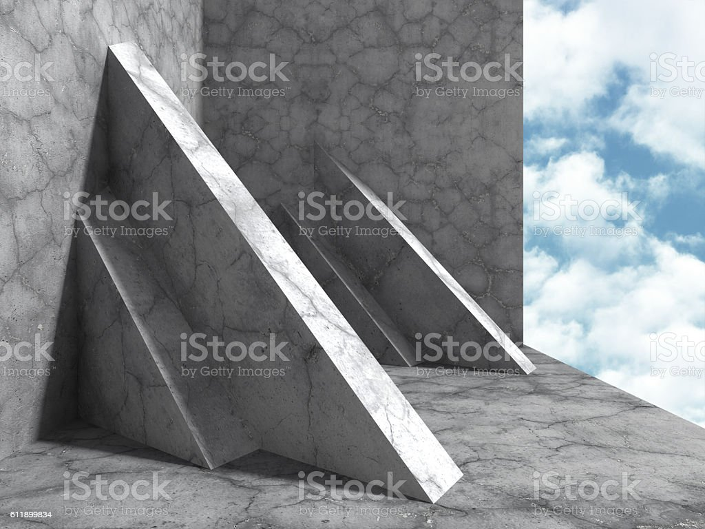 Concrete architecture construction on cloudy sky background stock photo