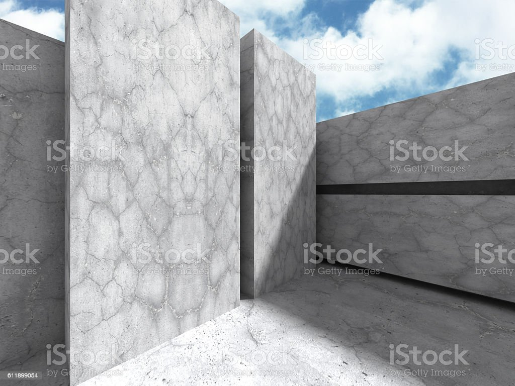 Concrete architecture wall construction on cloudy sky background stock photo