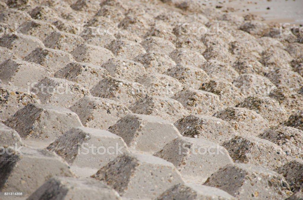 Concrete area for coastal protection stock photo