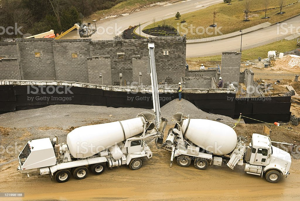 Concrete Being Poured In Condo Construction stock photo