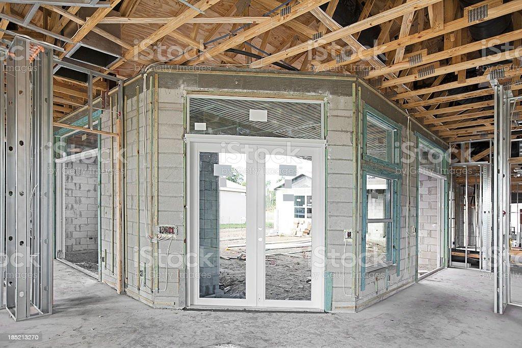 Concrete block construction before stucco series stock photo