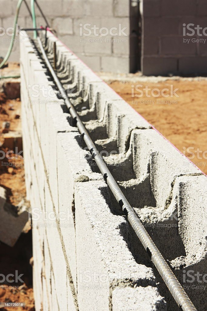 Concrete Block Foundation Wall Construction royalty-free stock photo