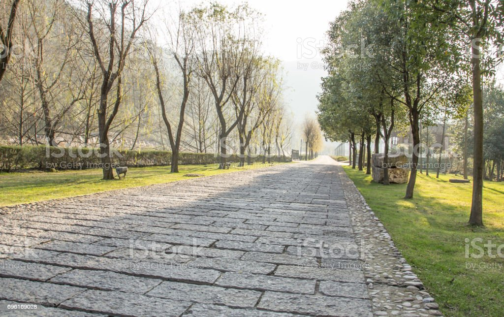 Concrete block walkway stock photo