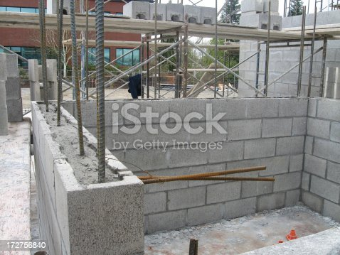 Concrete Block Wall Construction Stock Photo 172756840