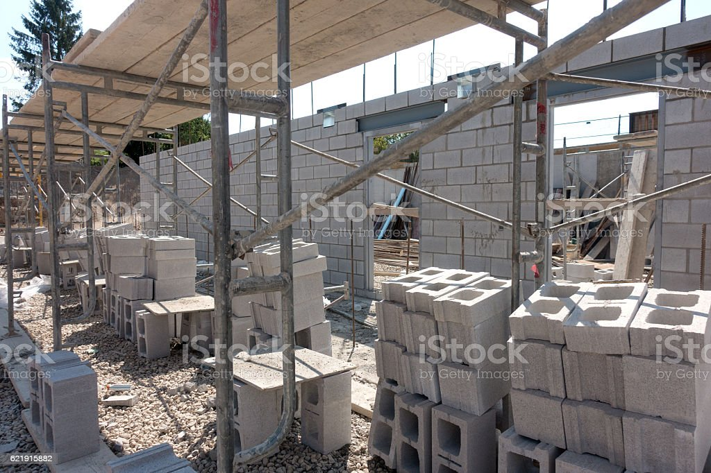 Concrete Block Wall Construction stock photo