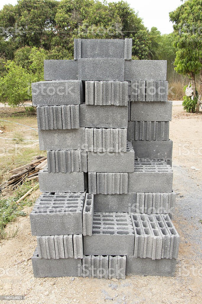Concrete block walls stock photo