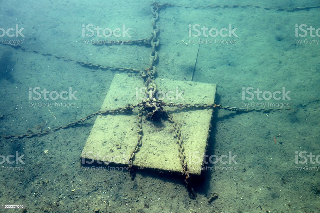 Concrete block with chains used as an anchor stock photo