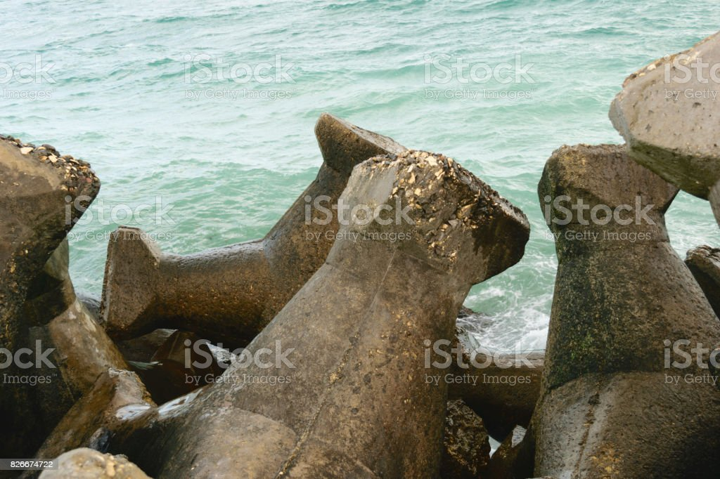 concrete blocks used to protect the beaches / coastal line from water eroding - Romania seaside - the Black Sea stock photo