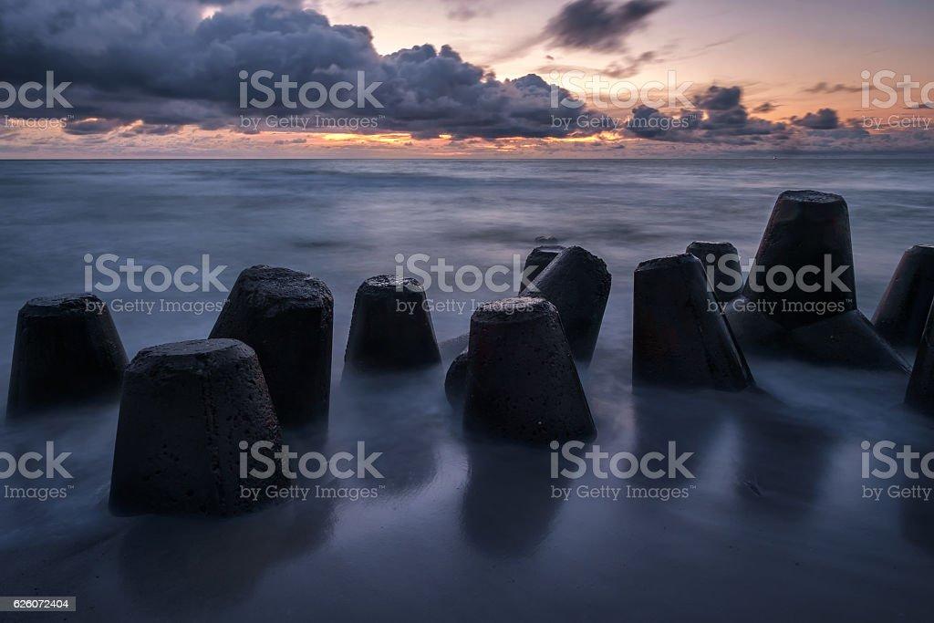 Concrete breakewaters stock photo