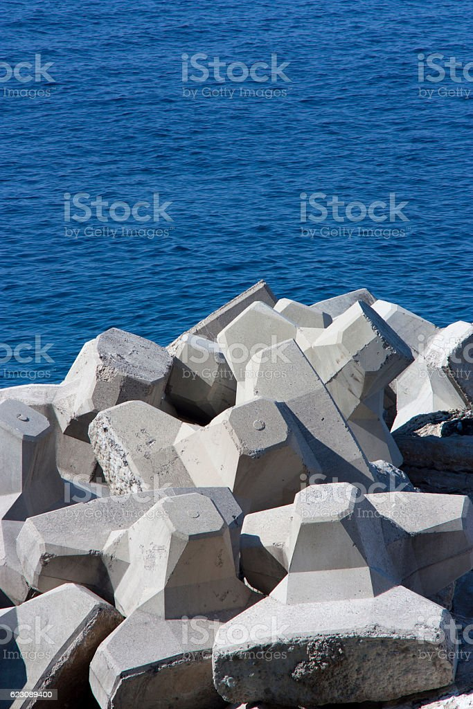 Concrete breakwaters stock photo